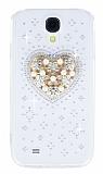 Samsung i9500 Galaxy S4 Ta�l� Kalp �effaf Silikon K�l�f