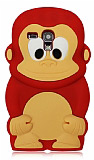 Samsung i8190 Galaxy S3 mini Maymun K�rm�z� Silikon K�l�f