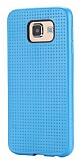 Samsung i9800 Galaxy S6 Nokta Desenli Mat Mavi Silikon Kılıf