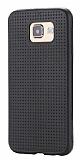 Samsung i9800 Galaxy S6 Nokta Desenli Mat Siyah Silikon Kılıf