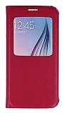 Samsung i9800 Galaxy S6 Pencereli İnce Yan Kapaklı Pembe Kılıf