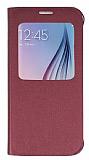 Samsung i9800 Galaxy S6 Pencereli İnce Yan Kapaklı Bordo Kılıf