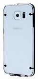 Samsung i9800 Galaxy S6 Siyah Silikon Kenarlı Şeffaf Rubber Kılıf