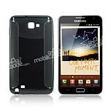 Samsung N7000 Galaxy Note D�z Desenli Siyah Silikon K�l�f