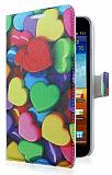 Samsung N7000 Galaxy Note Kalp Desenli C�zdanl� Yan Kapakl� K�l�f