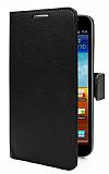 Samsung N7000 Galaxy Note Standl� C�zdanl� Siyah Deri K�l�f