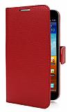 Samsung N7000 Galaxy Note Standl� C�zdanl� K�rm�z� Deri K�l�f