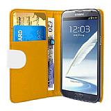 Samsung N7100 Galaxy Note 2 Beyaz Yan C�zdanl� K�l�f