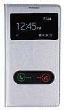 Samsung N7100 Galaxy Note 2 �ift Pencereli �nce Yan Kapakl� Silver Deri K�l�f