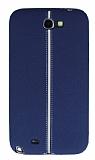 Samsung N7100 Galaxy Note 2 Kadife Dokulu Lacivert Silikon Kılıf