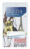 Samsung N7100 Galaxy Note 2 Pencereli �nce Kapakl� Paris K�l�f