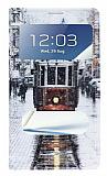Samsung N7100 Galaxy Note 2 Pencereli Standl� Taksim K�l�f
