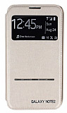 Samsung N7100 Galaxy Note 2 Pencereli Manyetik Kapakl� Gold Deri K�l�f