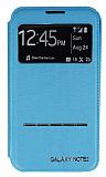 Samsung N7100 Galaxy Note 2 Pencereli Manyetik Kapakl� Mavi Deri K�l�f