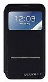 Samsung N7100 Galaxy Note 2 Pencereli Manyetik Kapakl� Siyah Deri K�l�f