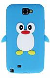 Samsung N7100 Galaxy Note 2 Penguen Mavi Silikon K�l�f
