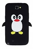 Samsung N7100 Galaxy Note 2 Penguen Siyah Silikon K�l�f