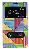 Samsung N7100 Galaxy Note 2 Prizma Desenli Pencereli �nce Yan Kapakl� Deri K�l�f