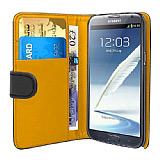Samsung N7100 Galaxy Note 2 Siyah Yan Cüzdanlı Kılıf