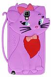 Samsung N7500 Galaxy Note 3 Neo Mari Cat Kedi Mor Silikon K�l�f