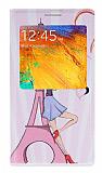 Samsung N7500 Galaxy Note 3 Neo Pencereli �nce Kapakl� Eiffel K�l�f
