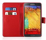 Samsung N9000 Galaxy Note 3 Cüzdanlı Yan Kapaklı Kırmızı Kılıf