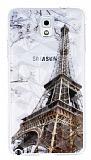 Samsung N9000 Galaxy Note 3 Eiffel Kulesi Kristal Rubber K�l�f