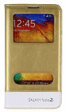 Eiroo Samsung N9000 Galaxy Note 3 Gizli M�knat�sl� �ift Pencereli Gold Deri K�l�f