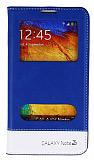 Eiroo Samsung N9000 Galaxy Note 3 Gizli M�knat�sl� �ift Pencereli Mavi Deri K�l�f