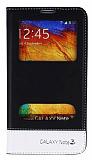 Eiroo Samsung N9000 Galaxy Note 3 Gizli M�knat�sl� �ift Pencereli Siyah Deri K�l�f