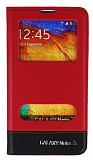 Eiroo Samsung N9000 Galaxy Note 3 Gizli M�knat�sl� �ift Pencereli K�rm�z� Deri K�l�f