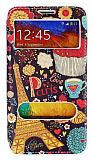 Samsung N9000 Galaxy Note 3 Gizli Mıknatıslı Çift Pencereli Paris Deri Kılıf