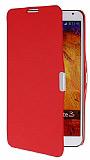 Samsung N9000 Galaxy Note 3 İnce Yan Kapaklı Kırmızı Kılıf