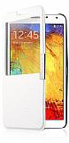 Samsung N9000 Galaxy Note 3 Pencereli İnce Yan Kapaklı Standlı Beyaz Kılıf