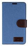 Samsung N9000 Galaxy Note 3 Kot Standl� C�zdanl� A��k Mavi Deri K�l�f