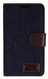 Samsung N9000 Galaxy Note 3 Kot Standl� C�zdanl� Koyu Mavi Deri K�l�f