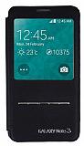 Samsung N9000 Galaxy Note 3 Pencereli Manyetik Kapakl� Siyah Deri K�l�f