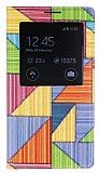 Samsung N9000 Galaxy Note 3 Prizma Desenli Pencereli �nce Yan Kapakl� Deri K�l�f