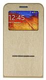 Samsung N9000 Galaxy Note 3 Standl� Manyetik Full Koruma Gold K�l�f