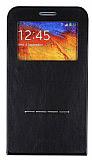 Samsung N9000 Galaxy Note 3 Standl� Manyetik Kapakl� Full Koruma Siyah K�l�f