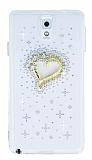 Samsung N9000 Galaxy Note 3 Taşlı Kalp Şeffaf Silikon Kılıf