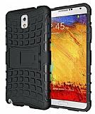 Samsung N9000 Galaxy Note 3 Ultra S�per Koruma Standl� Siyah K�l�f