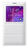 Samsung N9100 Galaxy Note 4 Orjinal Pencereli View Cover Beyaz Kılıf
