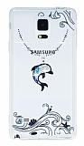 Samsung N9100 Galaxy Note 4 Mavi Taşlı Yunus Şeffaf Silikon Kılıf