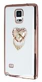 Samsung N9100 Galaxy Note 4 Taşlı Selfie Yüzüklü Rose Gold Silikon Kılıf