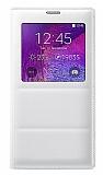 Samsung N9100 Galaxy Note 4 Uyku Modlu Pencereli Beyaz Kılıf