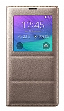 Samsung N9100 Galaxy Note 4 Uyku Modlu Pencereli Gold Kılıf