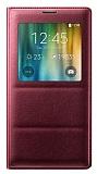 Samsung N9100 Galaxy Note 4 Uyku Modlu Pencereli Bordo Kılıf