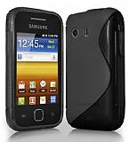 Samsung S5360 Galaxy Y Desenli Siyah Silikon K�l�f