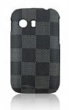 Samsung S5360 Galaxy Y Kare Desenli Sert Mat Siyah Rubber K�l�f